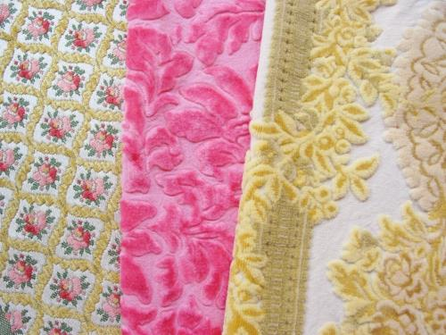 Vintage Cut Velvet Fabric Lot Pink Yellow