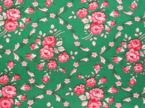 Vintage Pink Roses on Green Fabric