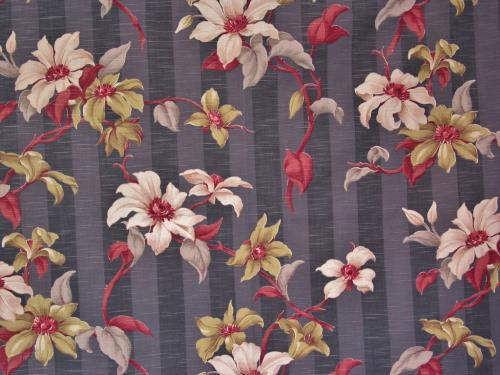 Tropical Floral on Gray Stripe