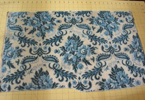 Vintage Two-Tone Blue Floral Cut Velvet Fabric