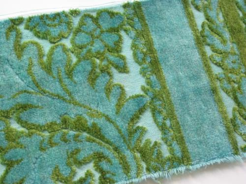 Teal Over Dyed Vintage Cut Velvet Pieces