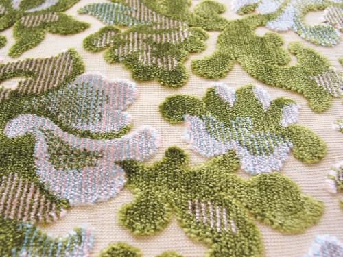 Cut Velvet Upholstery Fabric Green Floral Scroll