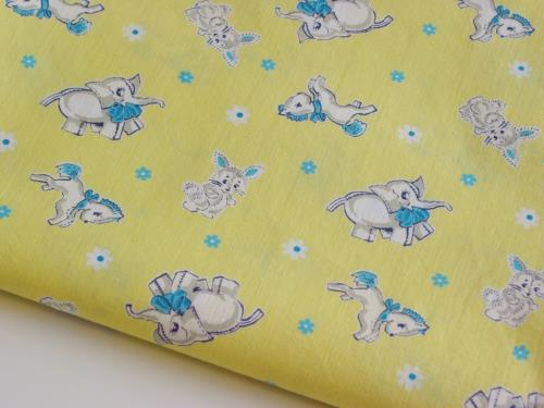Yellow Aqua Vintage Animal Fabric