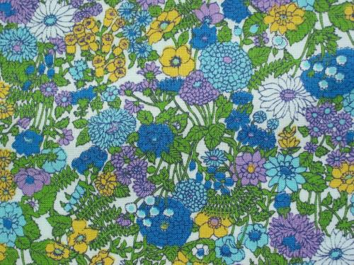 Aqua Yellow Wild Flower Vintage Fabric