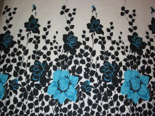 Vintage Black and Teal Rose Border Print Fabric